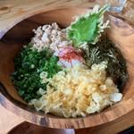 うどん製麺 みきや - 特製まぜ玉うどん(温)+麺(大盛)…税込780円+100円