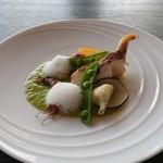 Mar Rosso - 真鯛のグリル ホタルイカとアスパラガスのソース オリーブの泡
