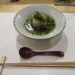 そばと酒 えもり - 「蕎麦豆腐の新生姜と生海苔あんかけ」