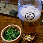 旬菜 籐や - 生ビール(2口飲みました)& お通し