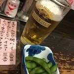 103610853 - 生ビールとお通しの枝豆