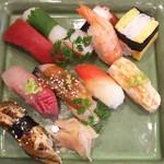 玄海鮨 - 梅にぎり+アナゴ+エビ炙り  アップ