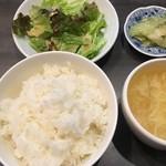kawaramachibambi - スープ・サラダ・青搾菜・ライス