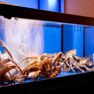 店内の生け簀から揚げた活蟹をお見せしてからお好みの調理法で。