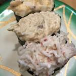 すし松 - サラダ三貫190円。カニサラダ、ツナマヨ、ホッキサラダの三種盛りです。安定の味で、コスパも高いと感じました(^。^)。