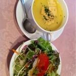10367420 - ハヤシライスに付いてるサラダとスープ