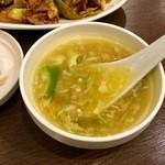 本格四川料理 三鼎 - 【日替わりや週替わりに付くスープ】オクラ入りの中華たまごスープでした。