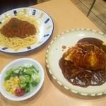 ムーセイオン - 「スパゲティーミートソース」と「とろふわオムライス」とセットのサラダ