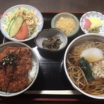 大野家 - ソースかつ丼セット (温かい蕎麦)