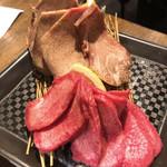 Kadoushijukuseiyakinikutokurafutobiru - 熟成タンとタンの食べ比べ