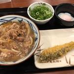 丸亀製麺 - 肉うどん並&温泉玉子&ほっけ天