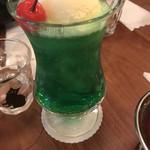 西浅草 黒猫亭 - メロンクリームソーダ