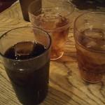 武州うどんあかねandみどりダイニング - セットのドリンク  私はいつものアイスコーヒーで、息子達は烏龍茶