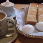 10380757 - モーニング珈琲。トーストとゆで卵がつきます。写真は2人分。