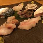 銀座 魚ばか - 御通しが刺し盛りとは、驚きました