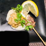 オリーブ - 牛タンと白子の串アヒージョ レモンソース
