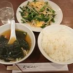 豊洲ラーメン - ニラ玉定食¥700-