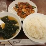 豊洲ラーメン - もつキムチ炒め定食¥800-