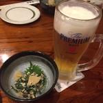 Kaisenyakaishimmaru - お通しと生ビール