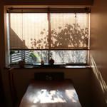 和か菜 - 西陽が差す窓際のテーブル