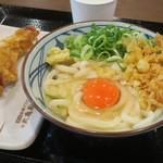 丸亀製麺 - 釜玉(並)350円、かしわ天140円