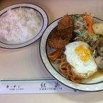 紅浜 - サービスランチ(白身魚のフライと生姜焼き)