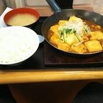 ランチハウス ミトヤ - 豆腐と肉のタレ焼き定食 800円  まるでからし焼きです