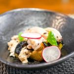 Arashida - 蒸し鶏と焼きナスのトリュフビネガーソース