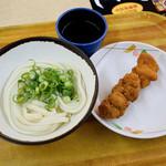 あなぶき家 - ぶっかけ冷+鶏の唐揚げ串