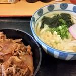 二葉食堂 - 二葉定食(小牛丼+うどん)。