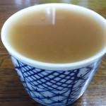 なごやか市場 - 梅蕎麦湯と汁を混ぜた状態