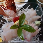 魚寅 - 刺身アップ 海老、マグロ、太刀魚、平目、石鯛