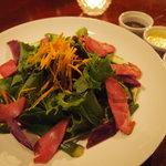 沖縄いみんちゅ - 沖縄県産豚タンスモークサラダ 3種類のドレッシングから選べます(アーサ・もずく・シークワーサー)