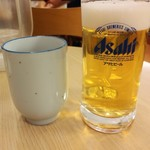 松屋 - お茶と生ビール小180円対比