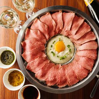 黒毛和牛ローストビーフの【肉ボナーラ】食べ放題1480円