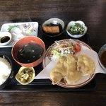 むちゃく - 活〆真鯛の刺身と豚の天ぷら=850円