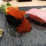 鮨 酒 肴 杉玉 - 雲丹といくらのこぼれ軍艦&本鮪大トロ