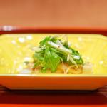 与志福 - ホタテのソテー 水菜、 ブロッコリースプラウト、 柚子マスタードソース