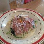 しまうまカフェ - 生ハムとふわふわチーズのカルボナーラ1230円(税抜)
