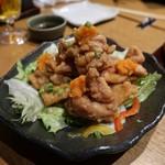 日本酒と個室居酒屋 農家の慶 - 大山鶏の唐揚げみぞれポン酢