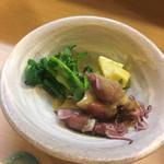 三平寿し - ホタルイカと菜の花と筍 筍は木の芽味噌和え