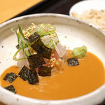 鯛茶福乃 - 福乃 鯛茶漬けの胡麻ダレと混ぜた鯛