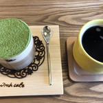 スイッチカフェ - 曲げわっぱティラミス(抹茶)&switchコーヒー