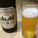 とんかつ 一頭揚げ 亀かわ - スーパードライ 中瓶 430円