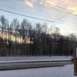 手打ちそば きた戸 - 冬の朝焼けです。