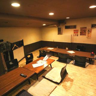 2階には団欒やご宴会に最適な【お座敷席】を完備。貸切利用も◎
