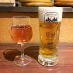 ガブ飲み和牛酒場 にくまれ屋 - グラスワイン・ロゼ(500円)/  デカジョッキ生ビール(650円)