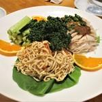 餃子王 - 前菜:棒棒鶏、干し豆腐絲、胡瓜のナムル。      2019.03.19
