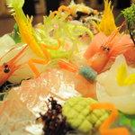 割烹加賀 - 料理写真:地魚のお造り盛り合わせ