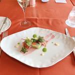 ホテルオークラレストラン新宿 ワイン&ダイニング デューク - 前菜 彩り春野菜のテリーヌ 生ハムとともに